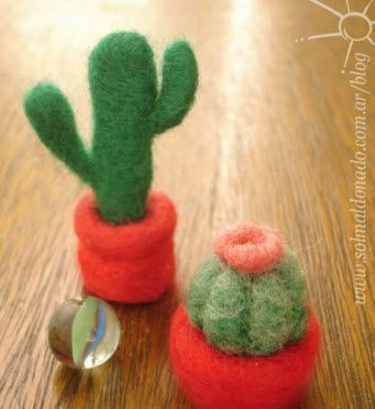 How to make a needle felted Cactus http://felting.craftgossip.com/2012/05/04/how-to-make-a-needle-felted-cactus/