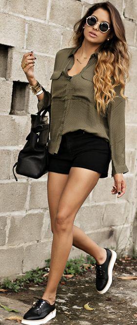 Dawilda Black Shorts Olive Button-up Holiday Style Inspo
