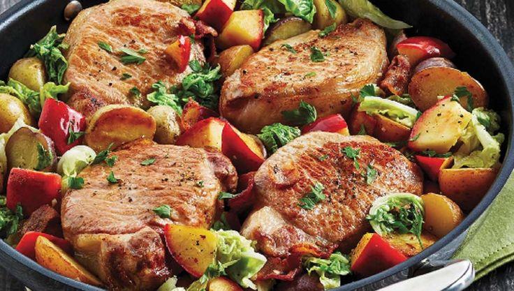 Recette : Côtelettes de porc aux pommes et au chou.