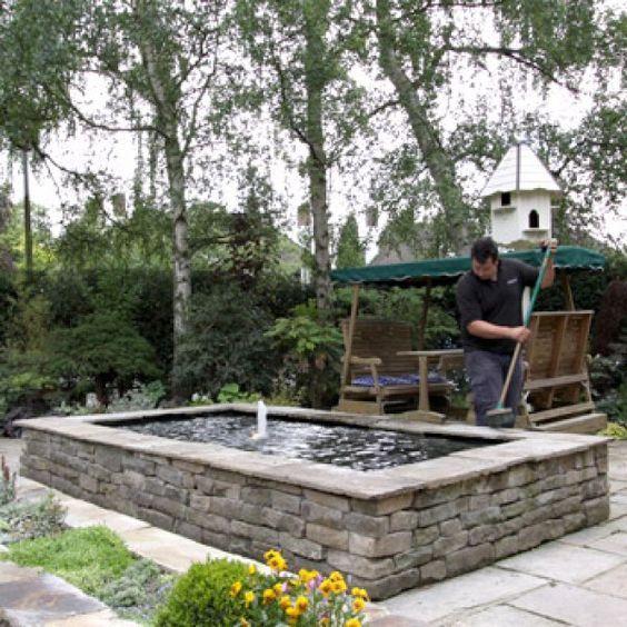 53 best above ground pond images on pinterest garden for Rectangular koi pond