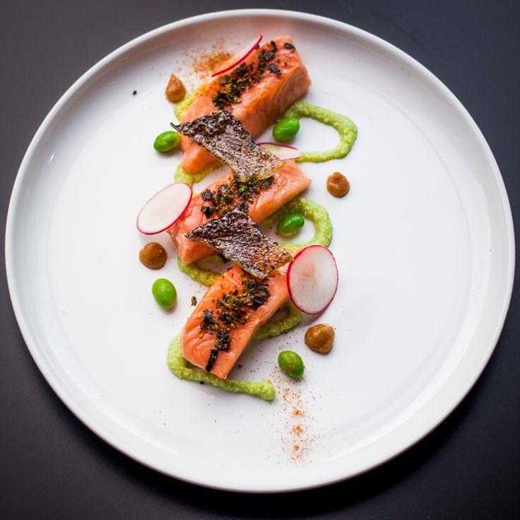 Confit Salmon, Miso Garlic Butter, Edamame Puree