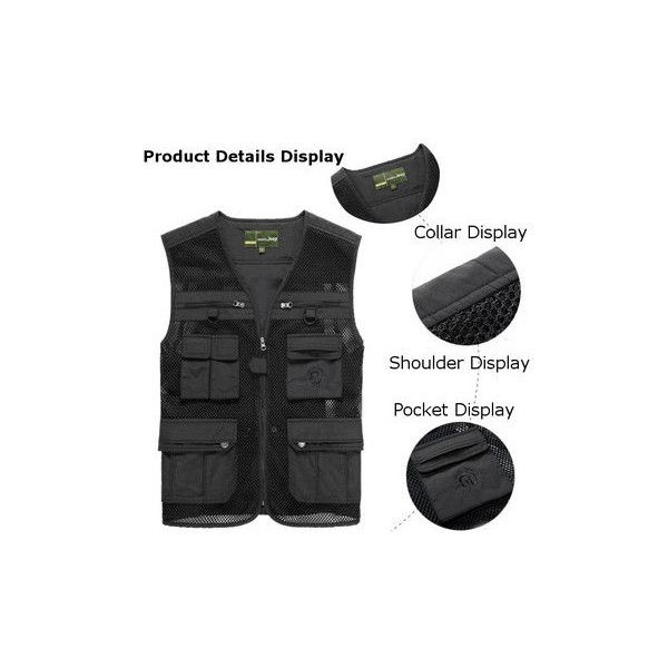 Outdoor Fishing Photography Vest Breathable Quick Dry Mesh Sleeveless... ($41) ❤ liked on Polyvore featuring men's fashion, men's clothing, men's outerwear, black, men coats & jackets vests, men's apparel, mens summer vests, mens sleeveless vest and mens clothing