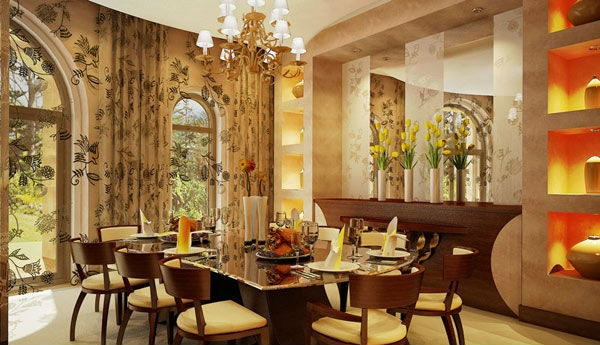 floral accent dining area space