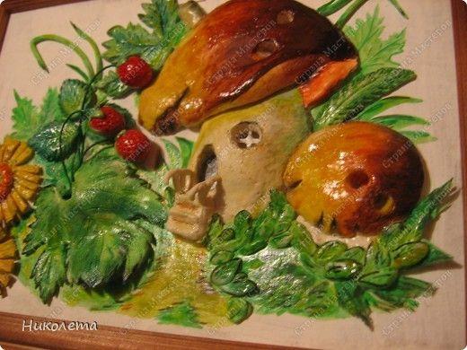 Картина панно рисунок Лепка Тесто солёное Грибной домик Акварель Тесто соленое фото 1