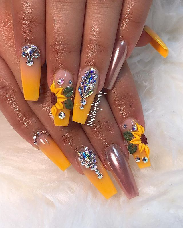 Nadia Ne Nadz Instagram Photos And Videos Yellow Nails Flower Nails Coffin Nails Designs