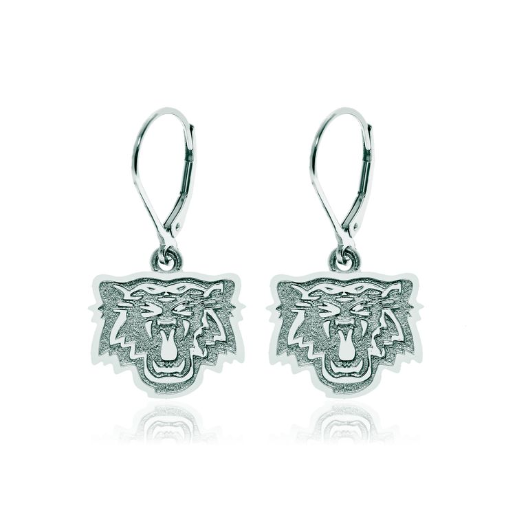 Sterling silver drop hoop Hamilton Tiger-Cats earrings.
