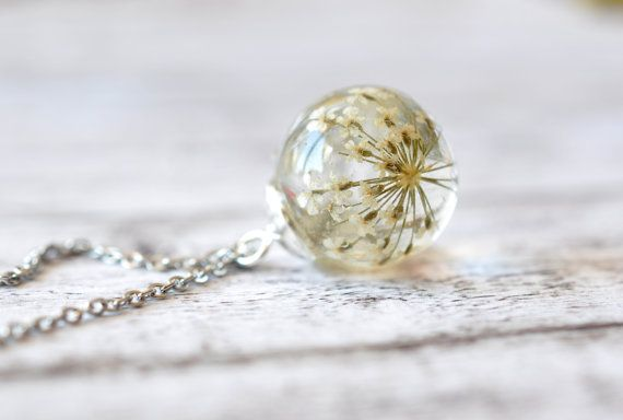 Dainty Queen Anne's Lace Resin Pendant - Resin Sphere Necklace - Real Dried Flowers In Sphere - Pressed Flower Jewelry