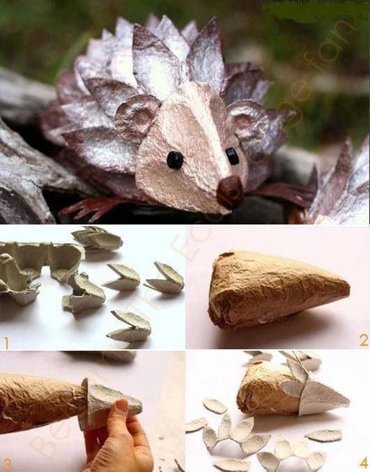 DIY Hedgehog from Egg Carton. Adorable! :-)