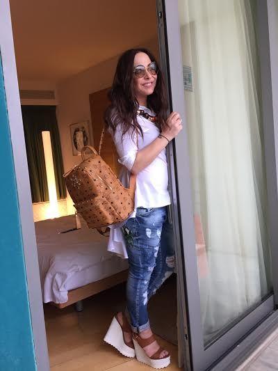 ΜΕΛΙΝΑ ΑΣΛΑΝΙΔΟΥ Melina Aslanidou in Mourtzi shoes www.mourtzi.com #wedges #aslanidou