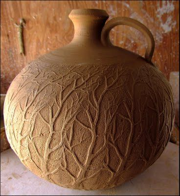 brown tree relief bottle pottery ceramics clay