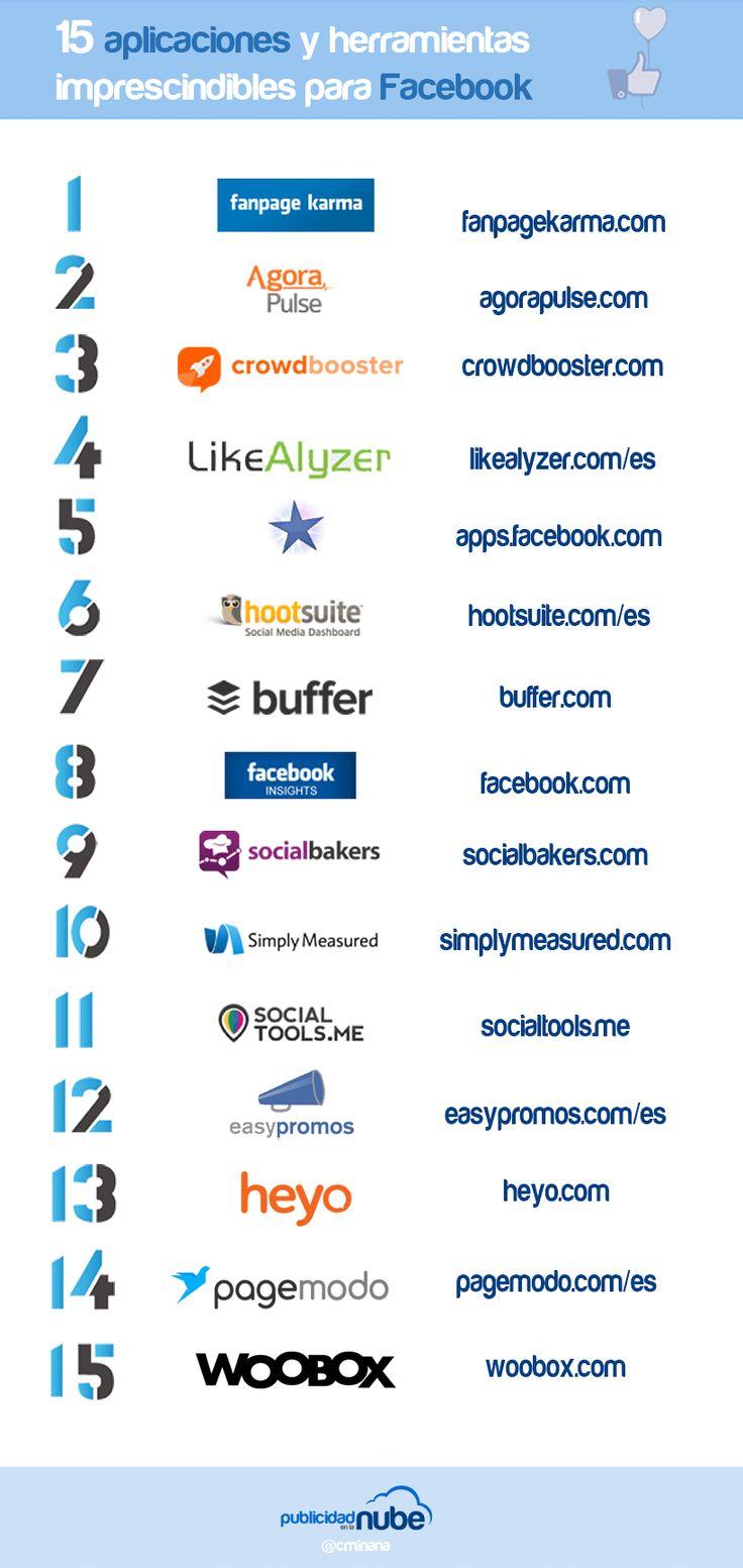 Hola: Una infografía con 15 herramientas y aplicaciones imprescindibles para Facebook. Vía Un saludo
