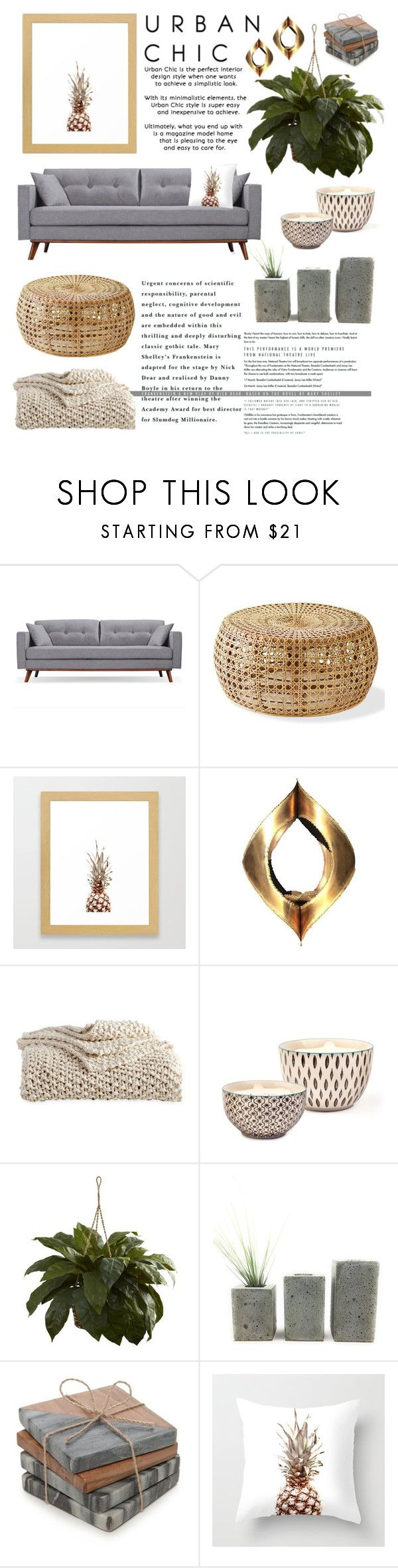 Living Room Urban Chic by by-jwp on Polyvore featuring interior, interiors, interior design, home, home decor, interior decorating, DKNY, Biltmore, Nearly Natural and Bambeco