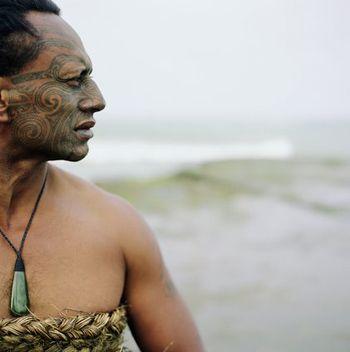 Maori man with ta moko