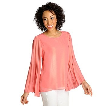 Love, Carson by Carson Kressley Woven Pleated Sleeve Scoop Neck TopCarson Kressley, Kress Style, Kressley Woven, Pleated Sleeve, Sheer Colors, Beautiful Blends, Scoop Neck, Neck Tops, Neck Topa