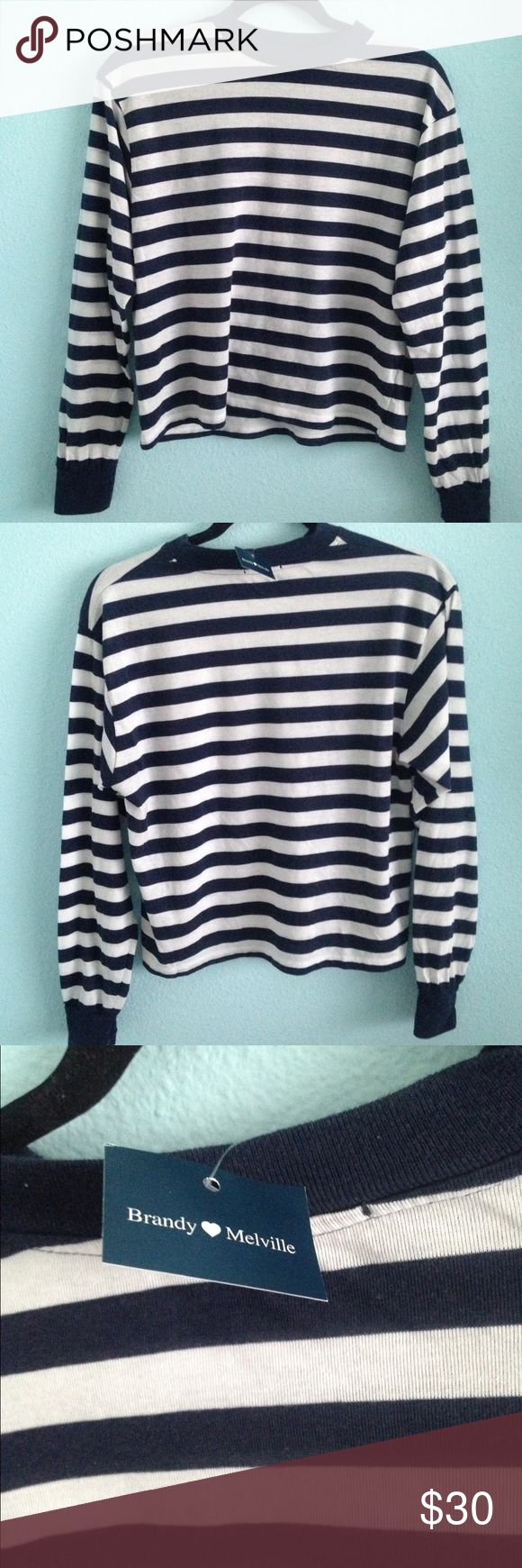Blue and white striped long sleeve Gretchen top Brand new with tags. Never been worn. Can fit anysize. The style is called Gretchen top. Brandy Melville Tops Tees - Long Sleeve