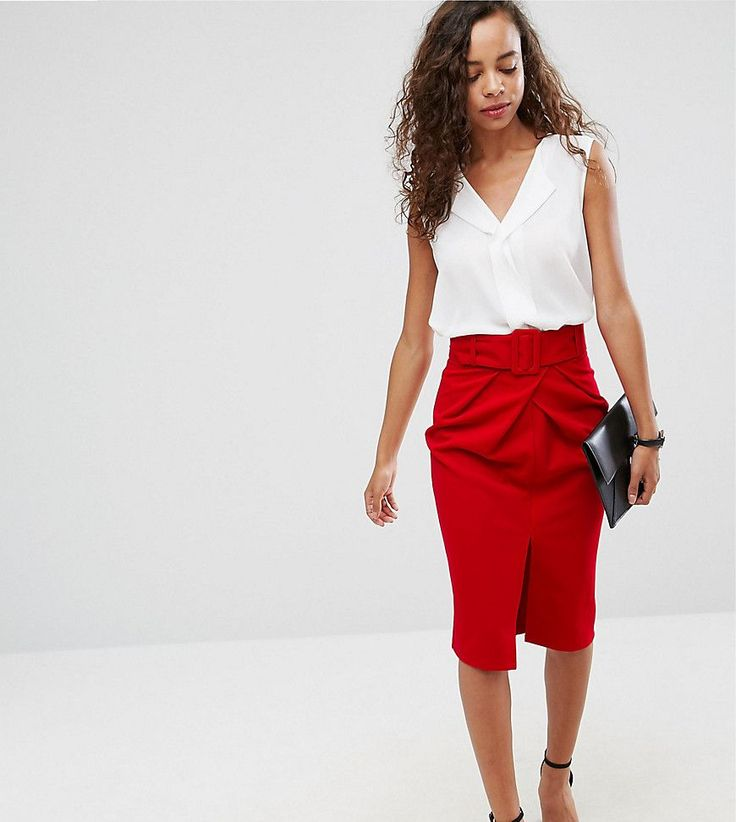 ASOS PETITE Belted Pencil Skirt - Red