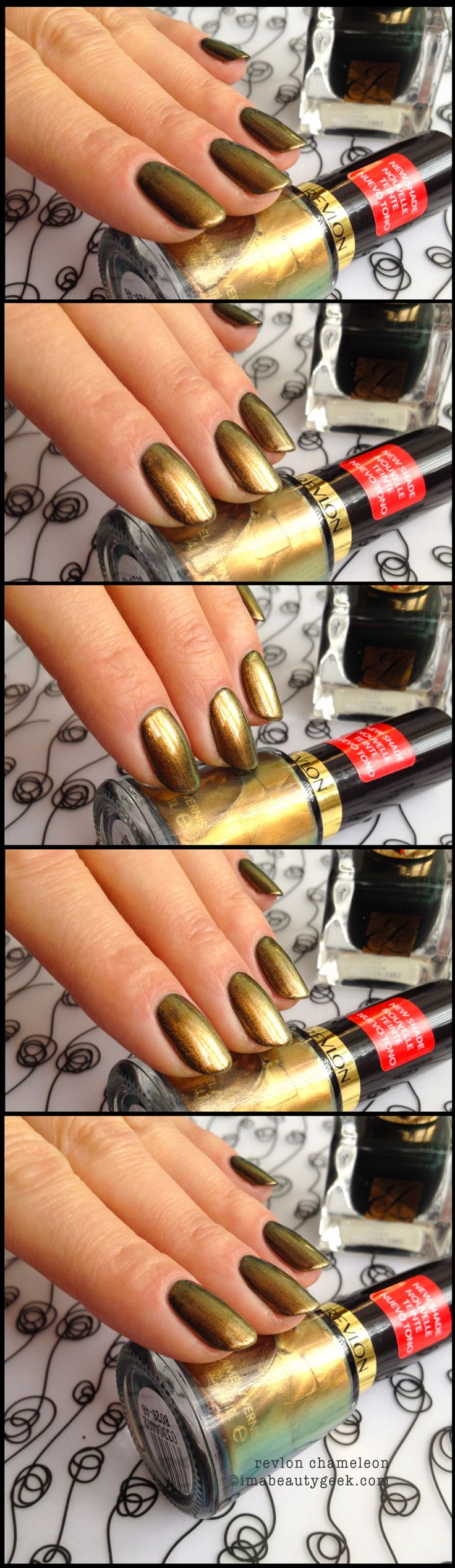 """""""Revlon Chameleon Nail Polish - ©2104imabeautygeek.com""""   i have this one, I love it, and haven't seen any Aztec gold polish this beautiful EVER!  I'm pretty sure that it was limited edition, but if I come across any more, I'm gonna stock up!"""
