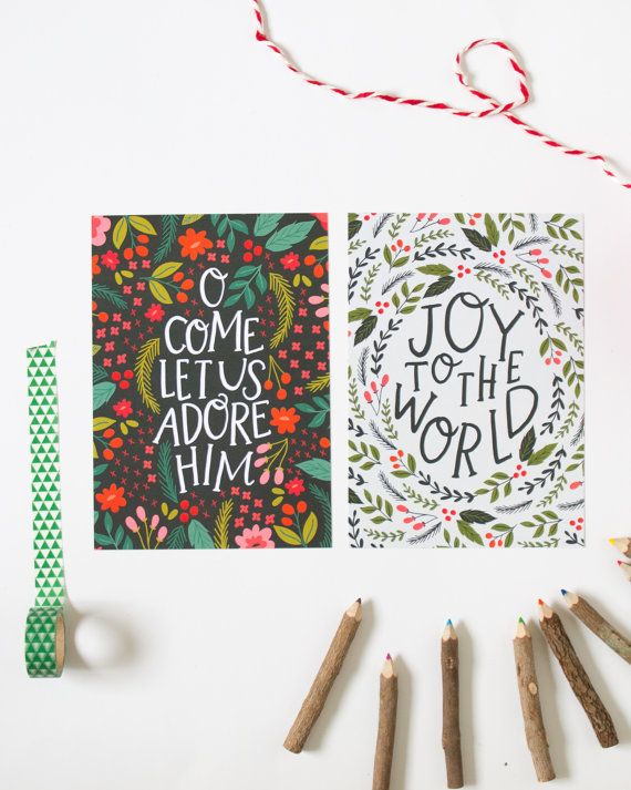 Hand lettered Christmas Print O Come Let Us Adore by alexazdesign