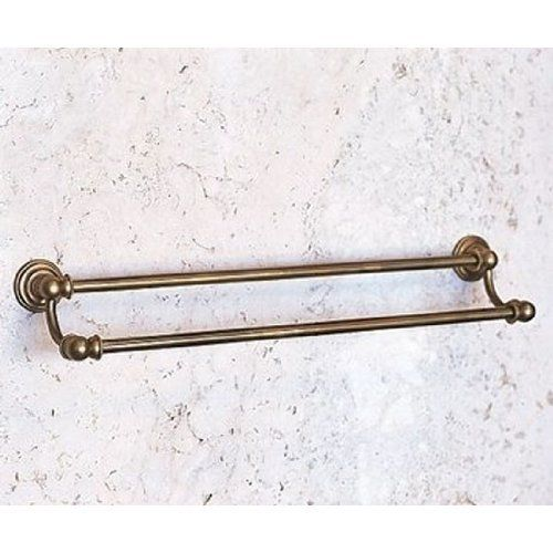 """Herbeau Creations Accessories HER3103 Herbeau Satin Nickel by Herbeau Creations. $735.75. """"Royale"""" Double Towel Bar Size 24"""" W Other sizes available on request Projection 6"""" Escutcheon 2 3 8"""""""