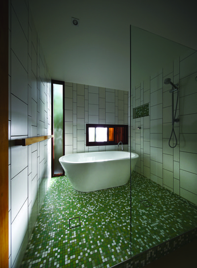 Green and white tile in the bathroom - great look!
