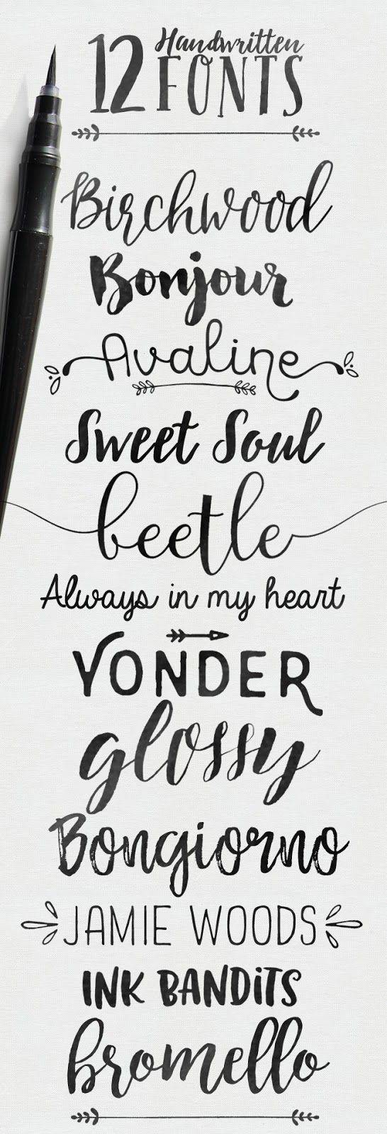Skyla Design 12 Handwritten Fonts Some Free