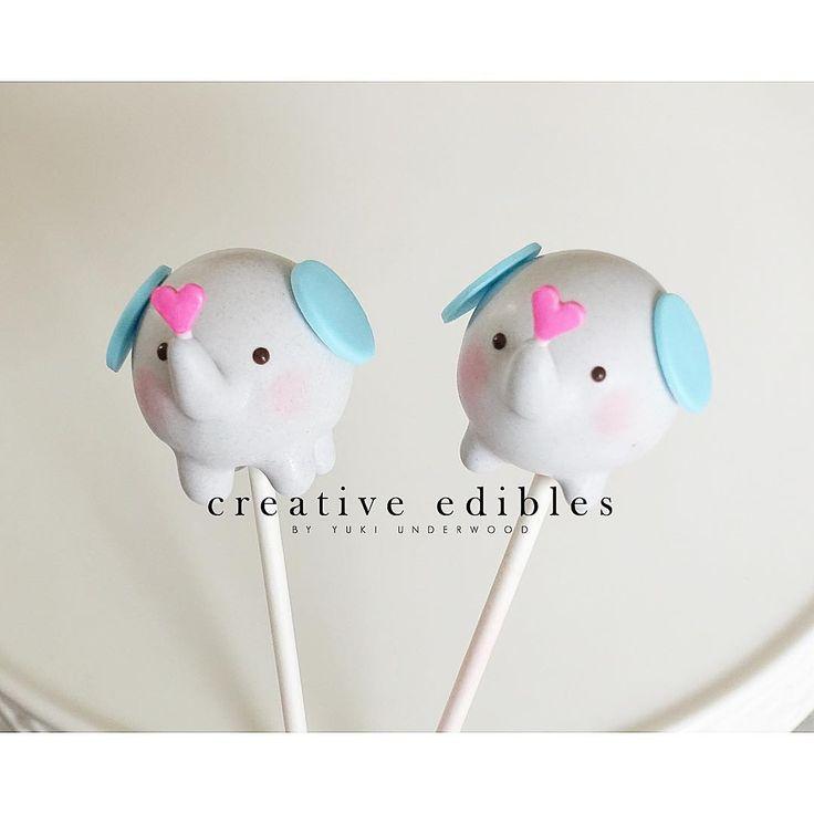 Elephant cake pops! ❤️ #creativeediblesbyyuki #cakepops #elephant #valentine #chocolate