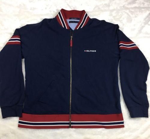 Vintage-Tommy-Hilfiger-Zip-Up-Varsity-Sweater-Jacket-Men-039-s-Sz-XL