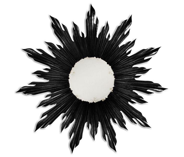 Small black sunburst mirror