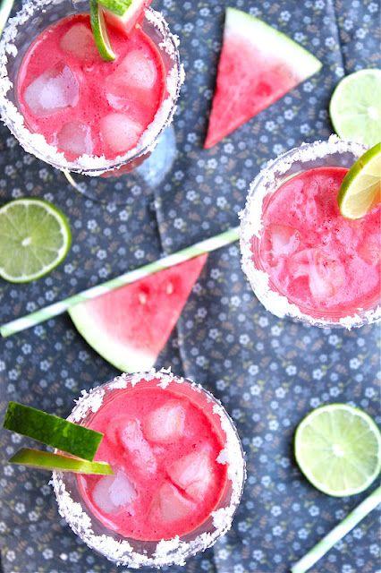 Watermelon Margarita's. Perfect for Cinco De Mayo.