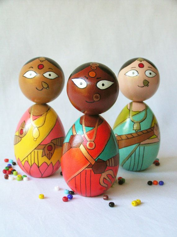 Durga Saraswati Lakshmi Devi Set - Handpainted Wooden Indian Goddess Golu Kokeshi Doll