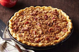 Bacon-Bourbon Apple Pie. Crispy bacon streusel tops this fabulous apple pie laced with a hint of bourbon, making for a sweet and salty dessert.