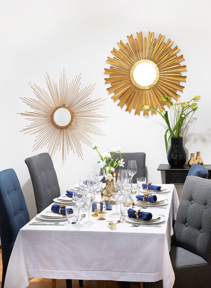 So funktioniert der Look »Classy Chic« Gepaart mit Royalblau und Goldakzenten laden die Westwing Basics Kombi-Künstler zum Luxus-Dinner ein. Dabei lassen sich das schlichte weiße Porzellan und die puristischen Kristallgläser ganz einfach mit opulentem Dekor-Geschirr upgraden, während das Edelstahl-Besteck perfekt mit schillernder Deko harmoniert.