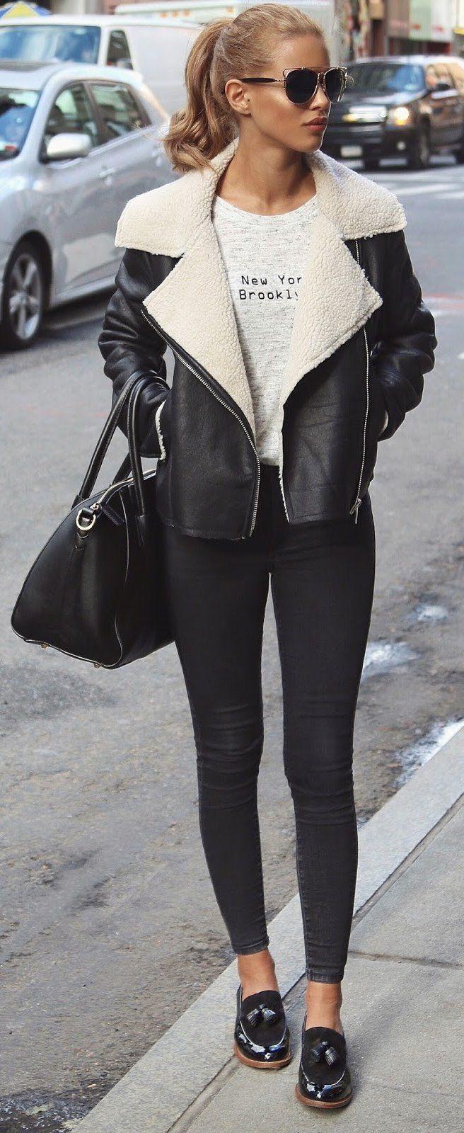 #winter #fashion /  Black Coat + Leggings + Leather Loafers