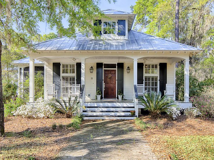 Cottage with a tin roof and a porch (15 Carnegie Street, Bluffton SC For Sale | Trulia.com)