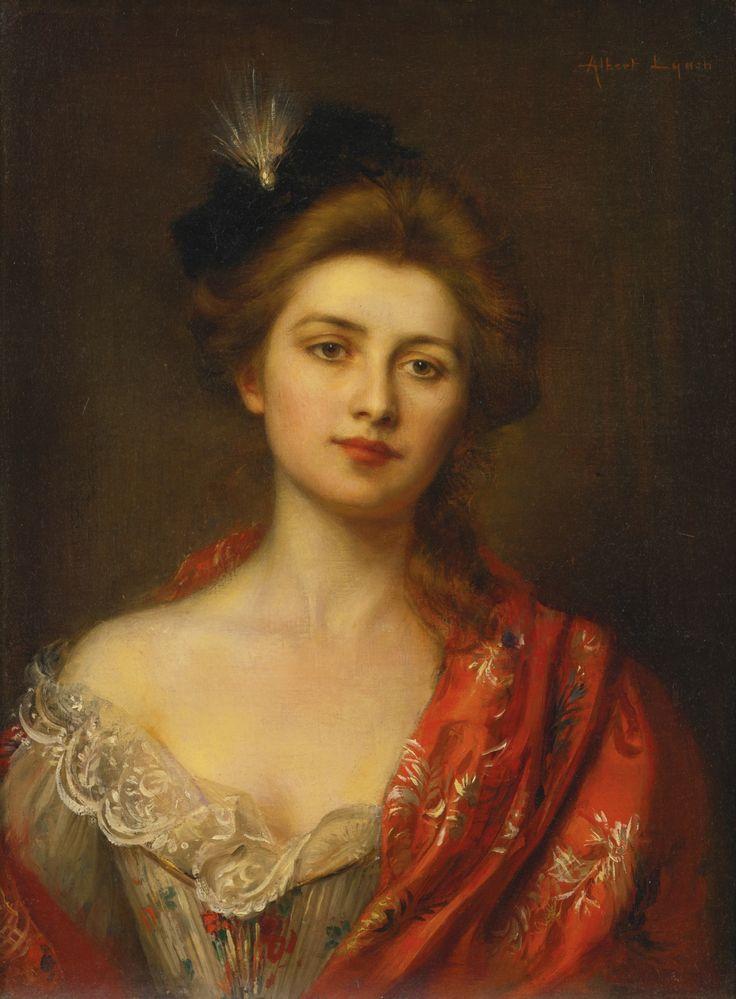 Nő a Red Hímzett kendő.  Albert Lynch (perui, 1851-1912).  Olaj, canvas.Lynch volt elsősorban ismert a gyönyörű portrék gyönyörű fiatal nő áll a tökéletes érzékenység és a romantika.  Portrék, mint a jelenlegi munka, gyakran magával ragadó édes és finom érzékiséget teszik őket nagyon kívánatos.