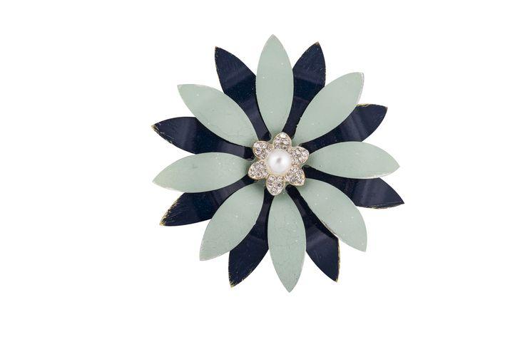painted enamel, diamonte & pearl brooch/bouquet pin
