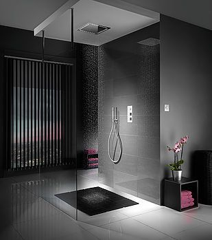 Open tiled bathroom room set shot in a photography studio.  #shower #room #bathroom #design #style #dark #interior #modern #contemporary #furniture #studio #photography #setbuild