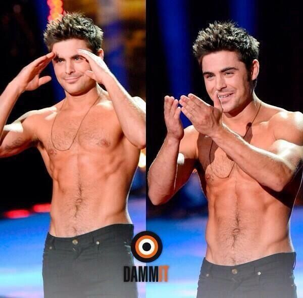 Shirtless Zac Efron MTV movie awards
