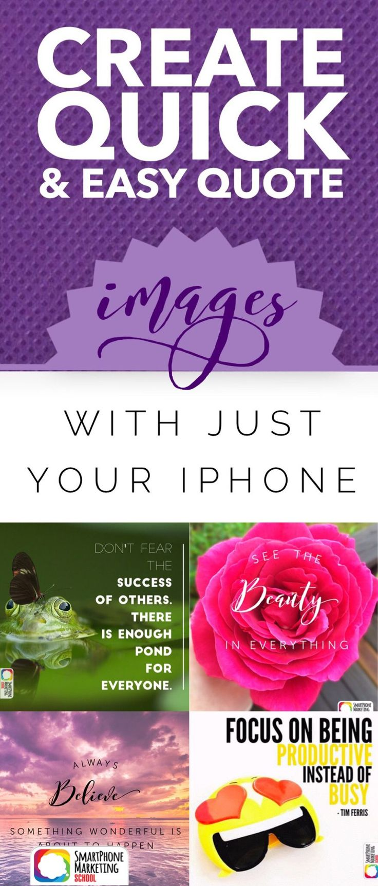 Create an inspirational quote image photo in under a minute with the Word Swag app. Create beautiful graphic designs with just your iPhone in this tutorial from the Smartphone Marketing School.