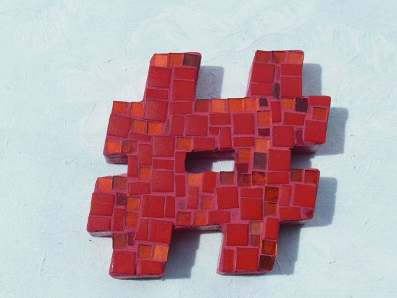Red #hashtag #Twitter #GeekArt Red Mosaic Hashtag Twitter Symbol Geek Art by MosaicGumbo on Etsy, $50.00