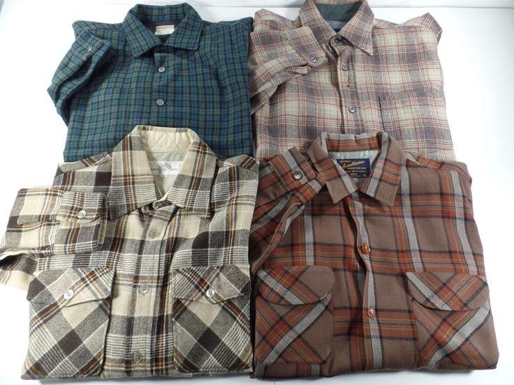 Lot Of 4 Pendleton Wool Flannel Mens Button Front Shirts Shirt Size Medium Plaid #Pendleton #ButtonFront