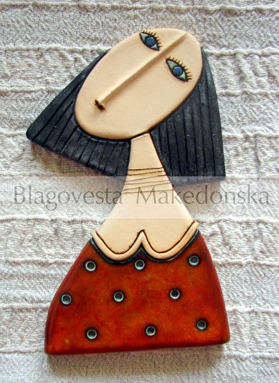 Girl with red dress - Original handmade ceramic art tile
