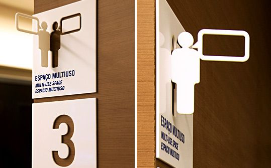 """Greco Design. Their solution: """"We developed the concept of """"projection"""" for the signage system project. The use of pictograms folded off the walls could encourage the scholars and visitors tosee them from a wide angle and learn where they were and/or how to get where they wanted to go. This idea carries the concept """"always look forward and keep an edgyperspective"""". (via Fabrizio Piccolini)"""