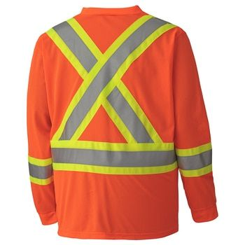 Cotton 6984 Hi-Viz Traffic Long-Sleeved Shirt, Back