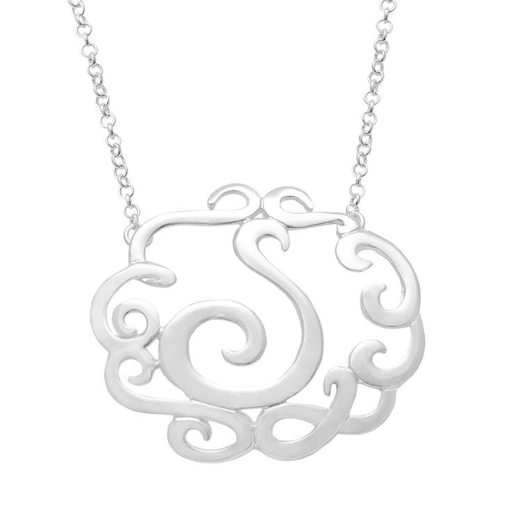 """Sterling Silver Scrollwork Initial Necklace, Women's, Size: 18"""", Grey"""