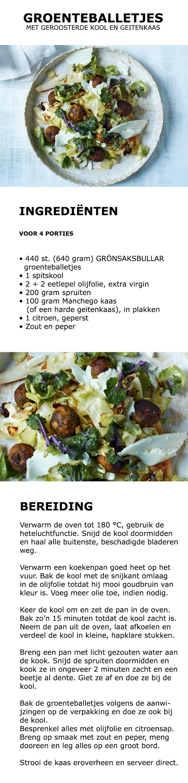 Inspiratie voor Wereld Vegetarisme Dag - Groenteballetjes met geroosterde kool en geitenkaas | #inspiratie #koken #keuken #salade #groente #groenteballetjes #vega #vegetarisch #spitskool #spruitjes #manchego #geitenkaas