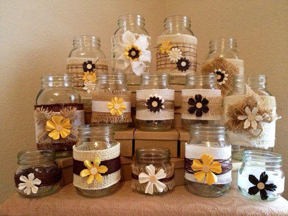 Country Chic Handmade Burlap Jute Inspired Mason Jars (Set of 6) // Wedding Centerpiece