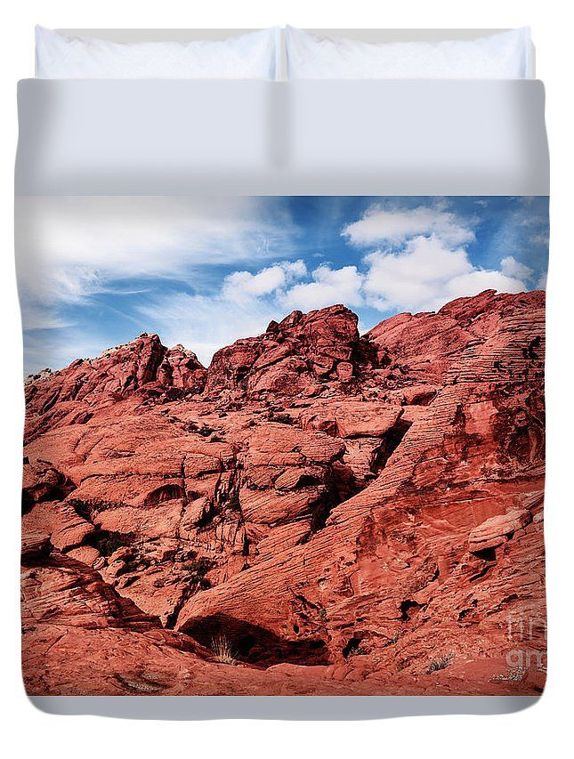 """Queen Duvet Cover (88 x 88) featuring the image """"Majestic Red Rocks"""" by Evgeniya Lystsova. Scenic Landscape of Red Rocks at Red Rock Canyon, southern Nevada, USA. Our soft microfiber duvet covers are hand sewn and include a hidden zipper for easy washing and assembly. Your selected image is printed on the top surface with a soft white surface underneath. all duvet covers a machine washable."""
