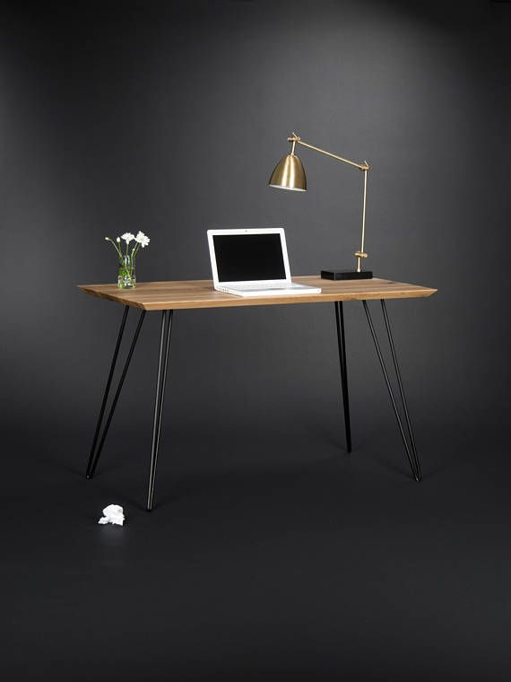 wooden desk modern table with metal hairpin legs table. Black Bedroom Furniture Sets. Home Design Ideas