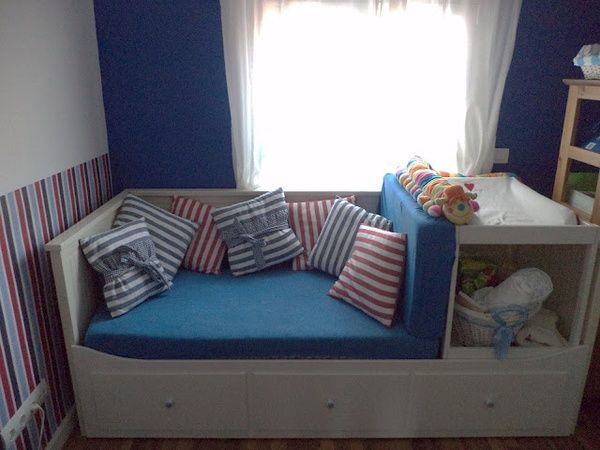 Ikea Hemnes daybed converted into seating with changing table/storage - very easy Ikea hack. Still provides a guest bed, and the addition of a bed guard means this can be used as a toddler bed too.